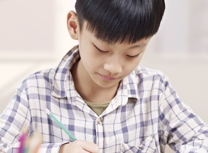 chinese boy does schoolwork or homework