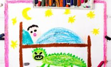 child's crayon drawing of monster under the bed